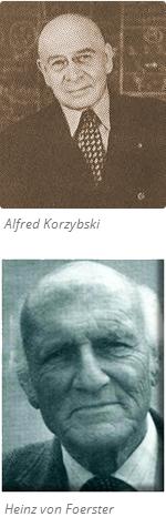 Fotos de cara de Alfred Korzybski y Heinz von Foerster
